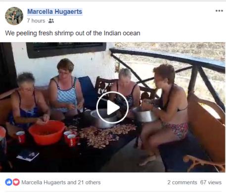 Garnalen pellen (filmpje op Marcella's FB)